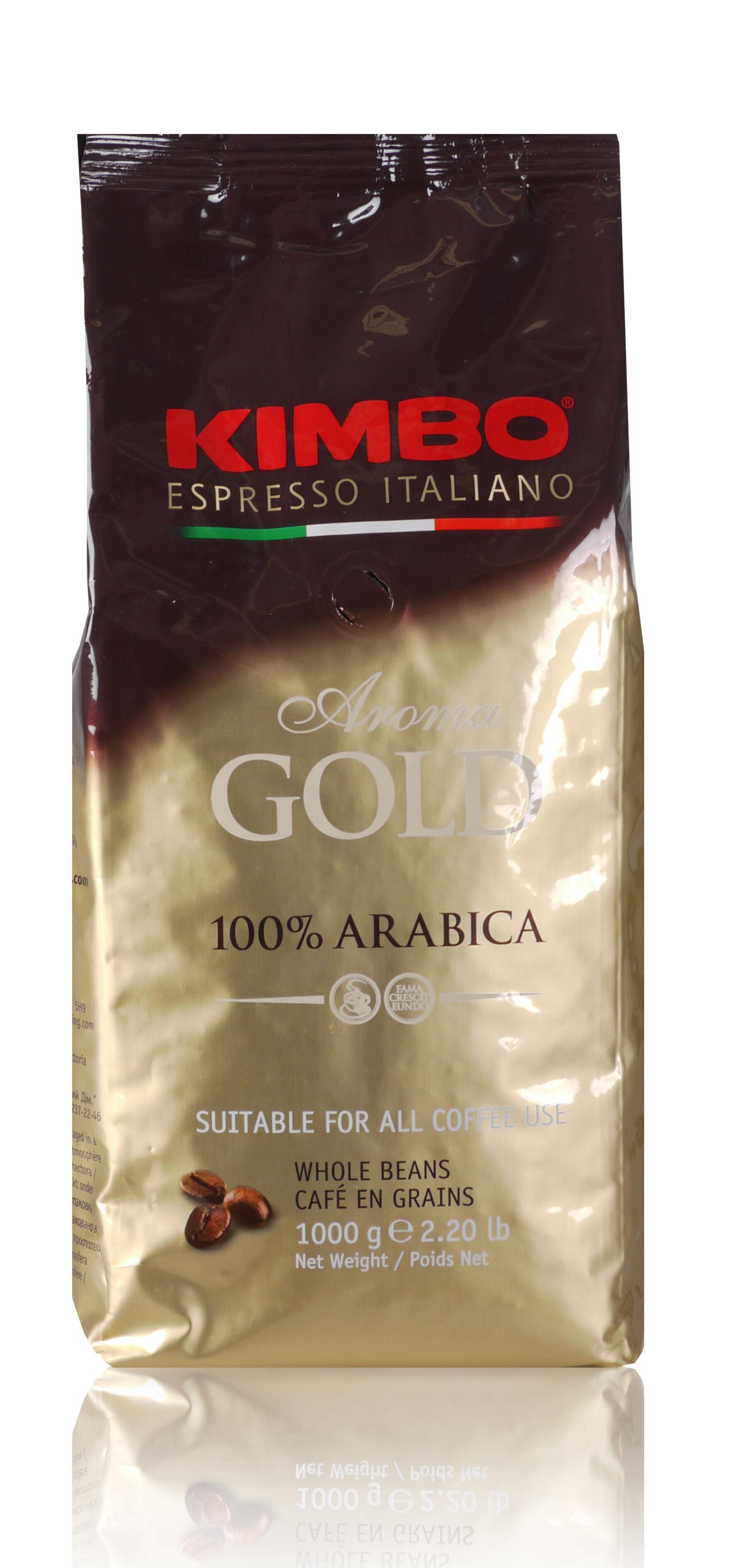 KIMBO Aroma Gold 100% Arabica 6 X 1 KG Bohnen im Beutel