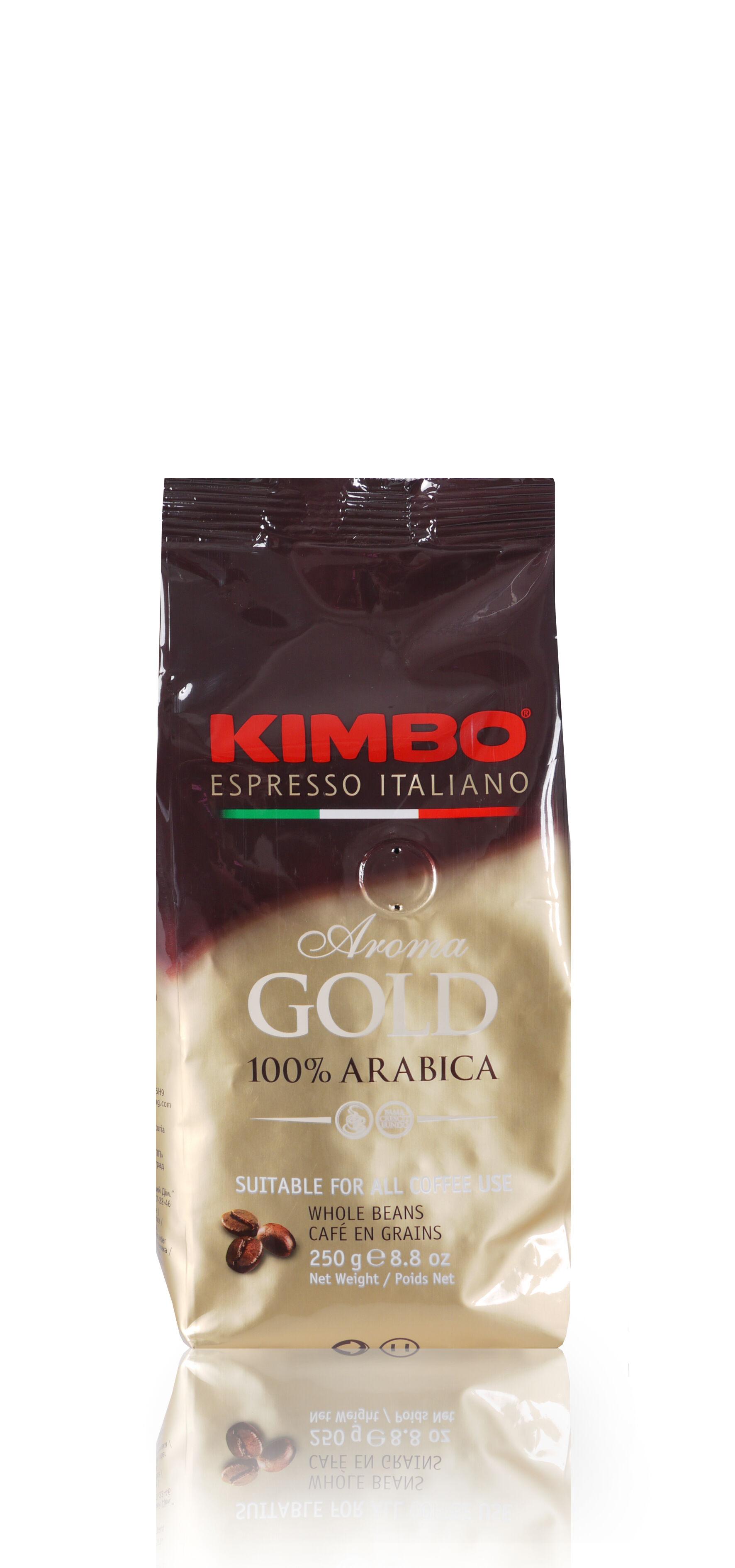 KIMBO Aroma Gold 100% Arabica 12x 250 g Bohnen im Beutel