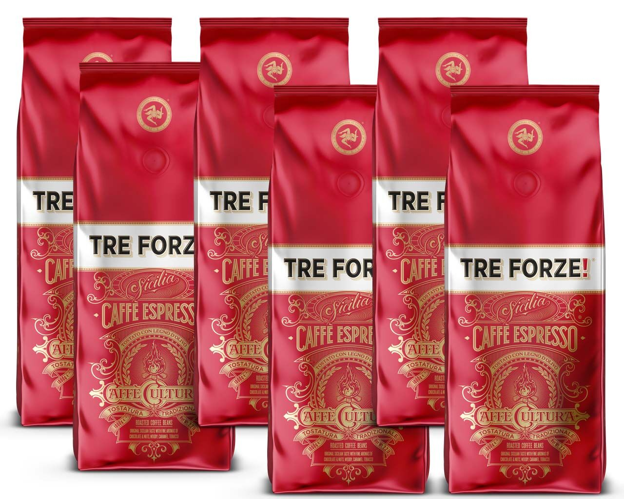 Tre Forze! Espresso Caffè 6 x 1000g Bohne Set
