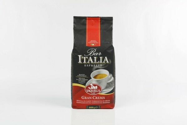 SAQUELLA Espresso Bar Italia Gran Crema 8 X 1 KG pupiņu maisiņā